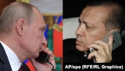 Турскиот претседател Реџеп Таип Ердоган и претседателот на Русија Владимир Путин