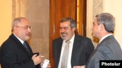 HHD leaders Vahan Hovannisian (left) and Hrant Markarian are no longer on such friendly terms with President Serzh Sarkisian (right).
