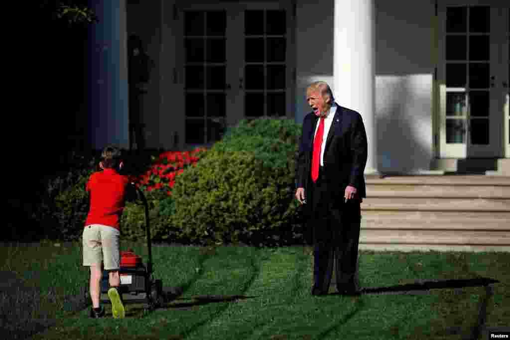 САД, ИЗРАЕЛ - Американскиот претседател реагира на 11-годишниот Френк Гиачио, кој ја коси тревата во дворот на Белата куќа во Вашингтон. Реакција од Трамп очекува и арапскиот свет, особено Палестина, каде по неговата одлука да го признае Ерусалим за главен град на Израел и таму да ја премести американската амбасада, протестите и судирите земаат се поголем замав. (Фотографијата на Трамп со момчето Френк е во најтесниот избор на агенцијата Ројтерс за избор на фотографија на годината).