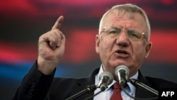Serbian Radical Party leader and presidential candidate Vojislav Seselj speaks during a rally in Belgrade in March.