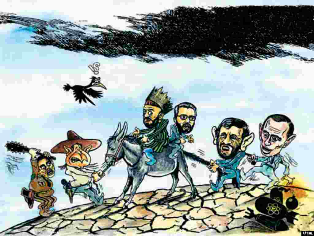 This illustration shows Karzai struggling to stay on track as world leaders -- Pervez Musharraf, George Bush, Mahmud Ahmadinejad, and Vladimir Putin -- pull him in many directions.