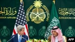 الفيصل وكيري في مؤتمرهما الصحفي المشترك - الرياض 5 آذار 2015