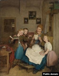 Фэрдынанд Георг Вальдмюлер, «Бабуля з трыма унучкамі» (1854)
