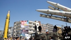 Iranian missiles are displayed during a rally marking Al-Quds (Jerusalem) Day in Tehran on June 23.