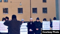 Uzbek Muslims in Sweden protests against alleged torture in Uzbek prisons. (file photo)