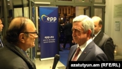 Belgium -- Armenian President Serzh Sarkisian gives an interview to RFE/RL's Armenian Service, Brussels, 23Nov2017