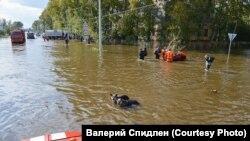 Люди и животные на затопленной улице