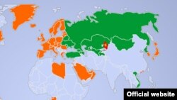 Қырғызстан 60 күнге шейін азаматтарына визасыз жүру тәртібін енгізген мемлекеттер көрсетілген карта.