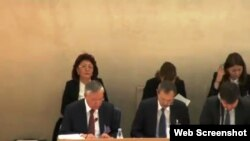 БҰҰ адам құқықтары кеңесінде отырған Қазақстан делегациясы. Женева. 30 қазан, 2014 жыл. webtv.un.org сайтынан алынған скрин-шот.
