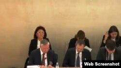 Қазақстан делегациясы БҰҰ-да адам құқығы есебін жариялап отыр. Женева, 30 қазан 2014 жыл. (Скриншот webtv.un.org сайтынан алынды).