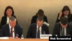 Казахстанская делегация выступает на 20-й сессии Универсального периодического обзора. Женева, 30 октября 2014 года.