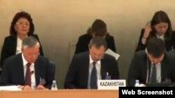 Представители Казахстана выступают на 20-й сессии Универсального периодического обзора. Женева, 30 октября 2014 года.