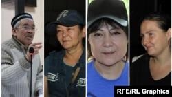 Правозащитники включили в список «политических заключенных» Кайырлы Омара, Гульзипу Джаукерову, Жазиру Демеуову и Оксану Шевчук (слева направо).