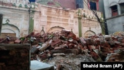 The remains of an Ahmadi mosque that was demolished by an angry mob on May 24 in the eastern Pakistani city of Sialkot