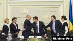 Під час підписання коаліційної угоди, 21 листопада 2014 року