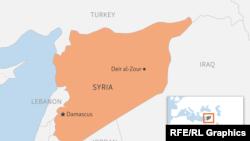 Сириянын чыгышындагы Дейр эз-Зор провинциясынын картасы.