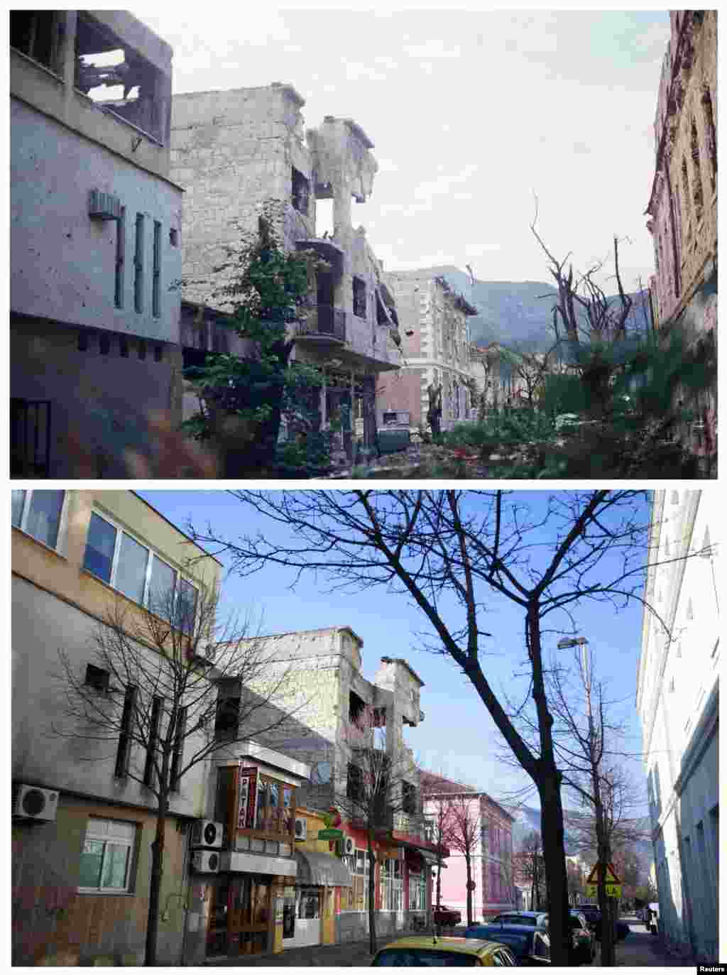 Destroyed buildings on Santiceva Street in Mostar in June 1993. The other photo is the same street on February 20, 2013.