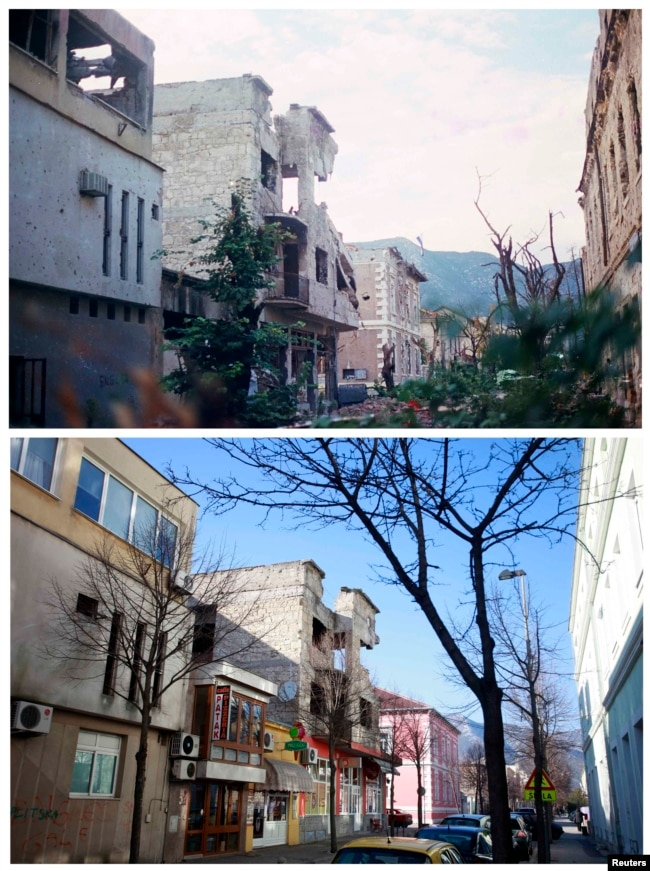 Santiceva Street in Mostar in 1993 and in 2013, with some buidlings still partly in ruins