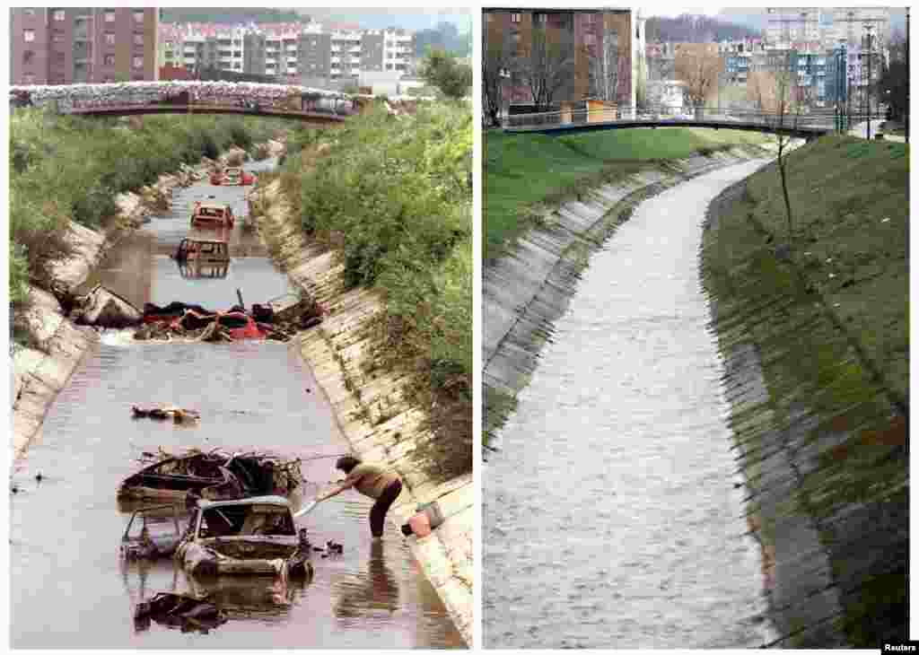 A Bosnian woman does her laundry in the Dobrinja River in the Sarajevo front-line district of Dobrinja on August 2, 1993. The same river is seen April 1, 2012.