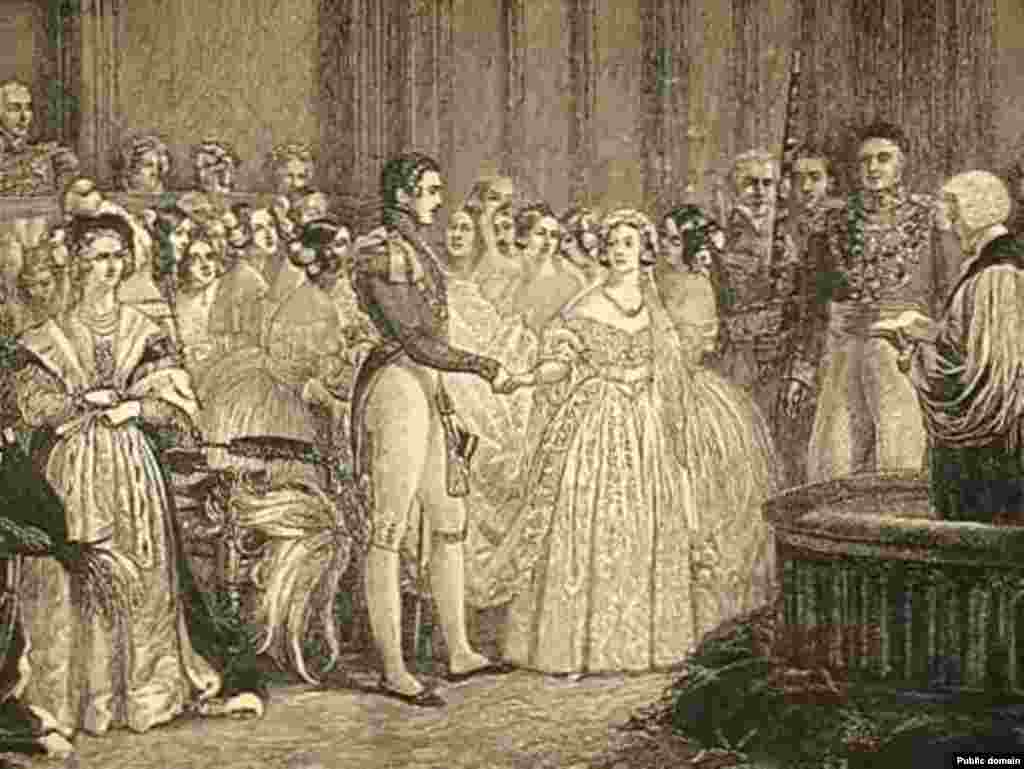 Queen Elizabeth II is Britain's longest-serving monarch since Queen Victoria, who reigned from 1837 to 1901. This engraving shows Victoria's wedding to Prince Albert in 1840.