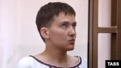 Jailed Ukrainian pilot Nadia Savchenko in court during a hearing on March 3.