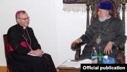 Armenia - Catholicos of All Armenians Garegin II (R) meets with Archbishop Marek Solczynski, the papal nuncio to Armenia, Echmiadzin, 23Apr2013.