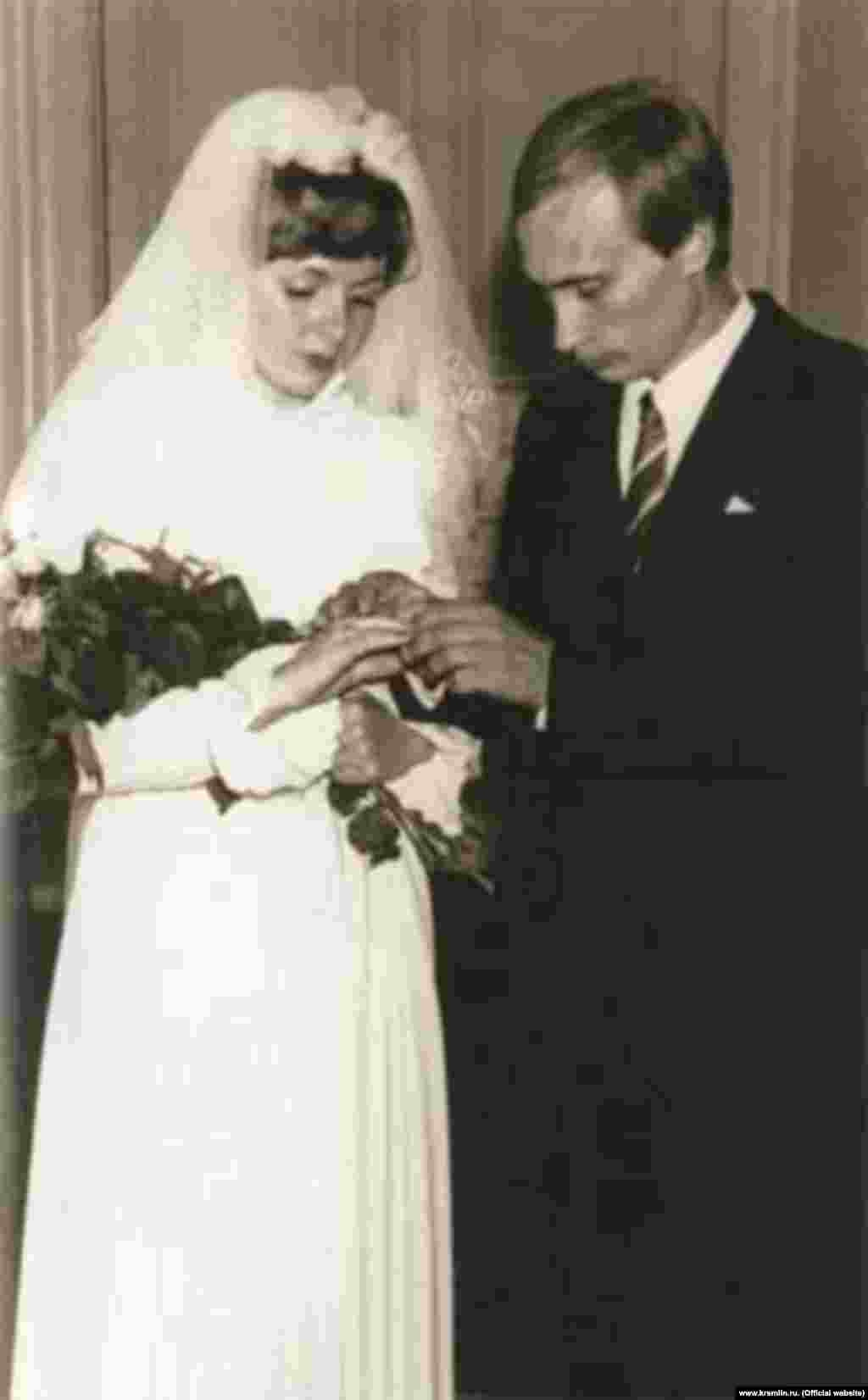 Vladimir Putin and Lyudmila Shkrebneva on their wedding day, July 28, 1983