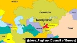 Карта с новым государством - Кырзбекистаном.