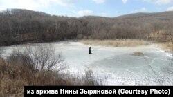 Инсталляция в виде плавника косатки из пенопласта, установленная на озере в районе бухты Средняя в Приморье