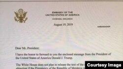 27 august, scrisoarea ambasadorului Statelor Unite, prin care este transmisâ președinției mesajul președintelui Donald Trump