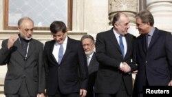 وزرای خارجه (از چپ) ایران، ترکیه، آذربایجان و افغانستان