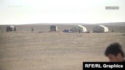 Палатки азербайджанских военных возле села Неркин Хндзореск
