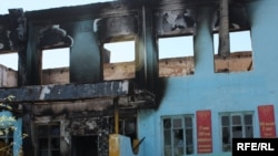 An Uzbek school that was burned during the unrest in Osh