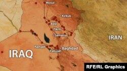 تکریت (در مرکز نقشه) زادگاه صدام حسین است؛ گزارشهای تازهای در مورد همکاری گروهی از قبایل سنی بار ارتش عراق منتشر شده است