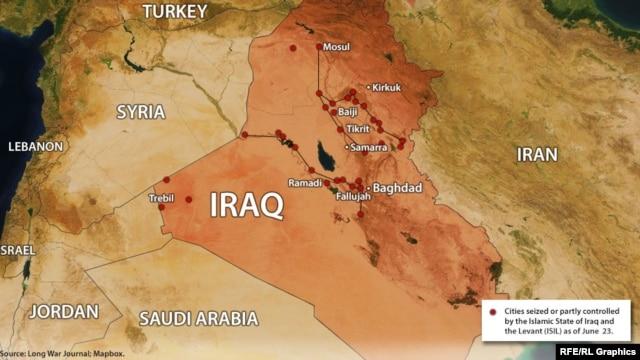 نقاط قرمز تحت تسلط داعش یا محل درگیری است.