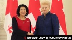 Վրաստանի նախագահ Սալոմե Զուրաբիշվիլի և Լիտվայի նախագահ Դալիա Գրիբաուսկայտե, Վիլնյուս, 7-ը մարտի, 2019թ․