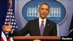 Барак Обама во время пресс-конференции