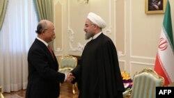 Իրանի նախագահ Հասան Ռոհանին ընդունում է ԱԷՄԳ-ի ղեկավար Յուկիա Ամանոյին, Թեհրան, 20-ը սեպտեմբերի, 2015թ․