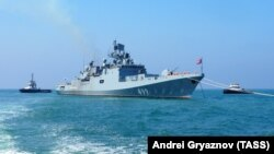 The Admiral Makarov frigate takes part in Russian Navy Day celebrations at the port of Tartus, Syria, on July 26.