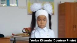 Сумая Серик, дочь Ерлана Хамзина, ученица первого класса.