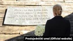 Kolinda Grabar Kitarović u Jasenovcu, 22. travnja 2015.