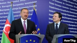 Belgium -- Azerbaijan's President at a Ilham Aliyev speaks at a press conference in Brussels, 22Jun2011