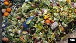 Kidobott élelmiszerből üzemanyagot, biogázt állítanak elő egy franciországi üzemben 2012. október 23-án.