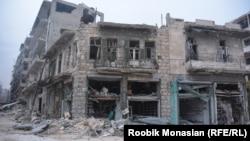 Syria -- Damaged buildings in Aleppo, 29Nov2016