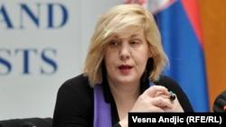 Serbia -- OSCE Representative on Freedom of the Media Dunja Mijatović at an international conference in Belgrade, 27Mar2015.