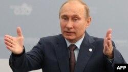 Ресей президенті Владимир Путин G20 саммитінде сөйлеп тұр. Санкт-Петербург, 6 қыркүйек 2013 жыл.