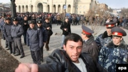 An Armenian protester shouts during opposition rallies in February 2008