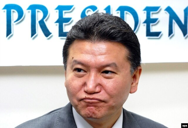 Kirsan Ilyumzhinov, current president of the World Chess Federation (FIDE), at a press conference in India in 2010