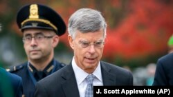 William Taylor arrives on Capitol Hill in Washington on October 22 for a deposition.
