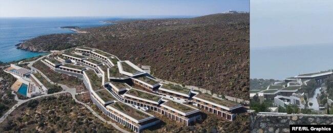 Панорама курорта Six Senses Kaplankaya на одном из туристических сайтов в интернете (слева) и на видео, снятом Лидой Слуцкой в апреле 2021 года